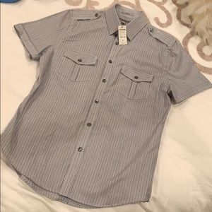 Men's striped grey and white EXPRESS  short sleeve